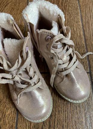 Стильные перламутровые деми/ботиночки f&f р.25