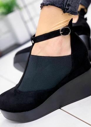 Женские туфли черные на танкетке натуральная замша mira 5-2