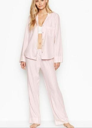 Пижама р. s, m victorias secret, оригинал,в розовую полоску фланелевая,штаны,рубашка