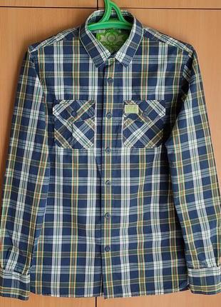 Фирменная рубашка superdry/англия/клетка/cotton-100%/унисекс.