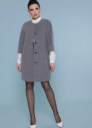Светло серое кашемировое пальто