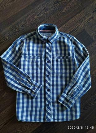 Плотная котоновая рубашка на 9-10 лет