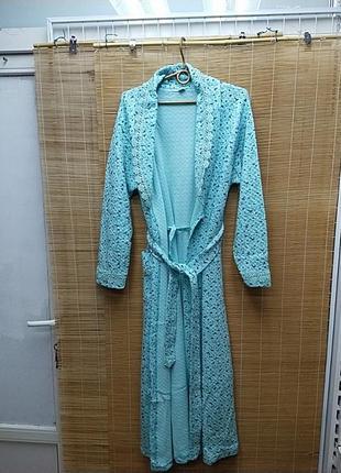 Женский стёганый халат длинный