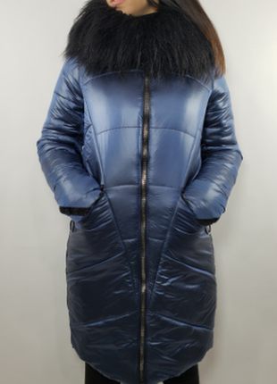 Пальто зимнее на холофайбере .воротник лама. все размеры