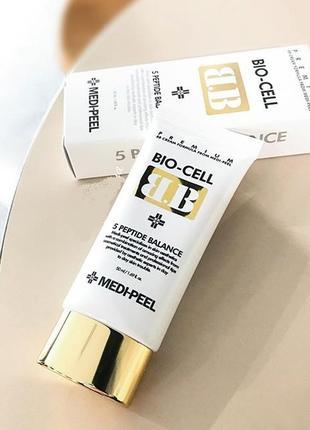 Восстанавливающий антивозрастной вв крем с пептидами medi-peel bio-cell bb