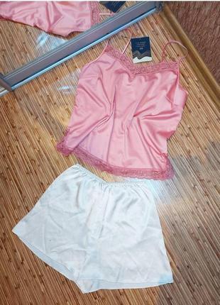 Пижама атласная кружевная ажурная розовая пудровая белая шорты майка с кружевом