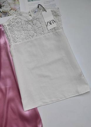 Неймовірна блуза zara з гарним мереживом ❤