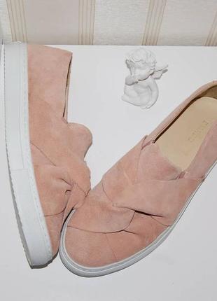 Туфли слипоны замш кожа пудровые 40 р 26 см