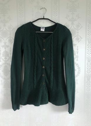 Зелёная кофта vero moda с воланом,кардиган изумрудный свитер с кашемир