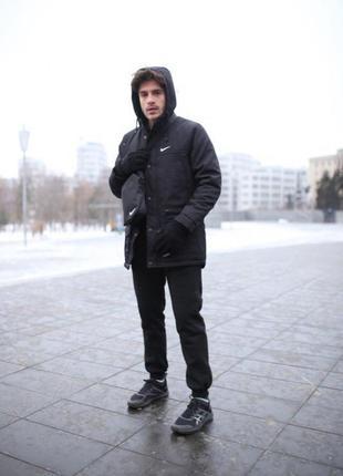 Комплект парка черный +штаны president.+барсетка и перчатки в подарок