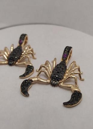 Золотой кулон скорпион с бриллиантами
