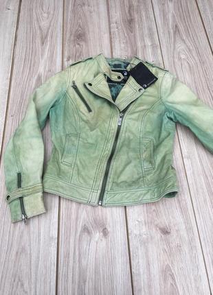 Стильная актуальная натуральная кожаная куртка косуха тренд goosecraft h&m massimo dutti