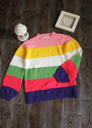 Мягкий вязаный свитер свободного кроя оверсайз в полоску