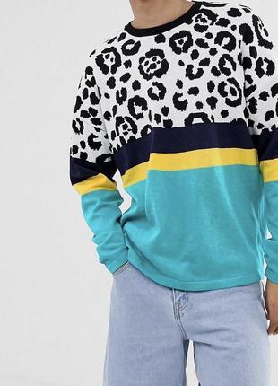 Леопардовый энимал принт свитер asos мужской xs женский s