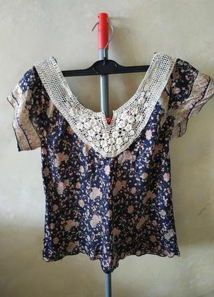 Шёлковая футболка, блузка из шёлка в стиле бохо в цветочный принт, 100% шёлк