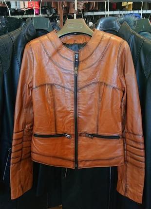 Куртка женская кожаная натуральная короткая на змейке по распродаже