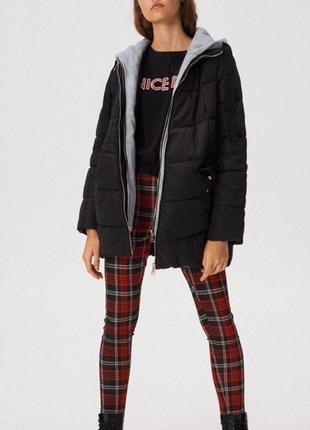 Куртка осенняя, с трикотажным капюшоном