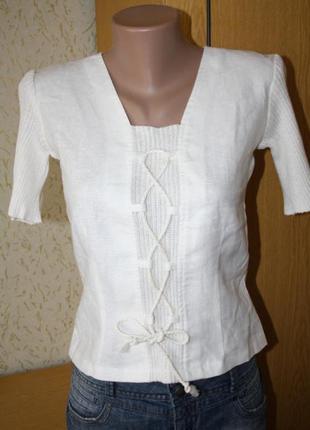 Красивая кофточка футболка, 100% лен, 8р.