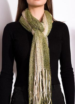 Бежево-зеленый шарф