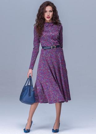Платье сукня плаття фиолетовое демисезонное элегантное миди в принт jet р.48 укр.