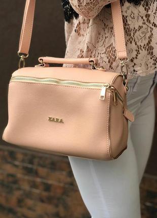 Новая кожаная сумка пудра с золотой фурнитурой