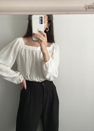 Белая блуза с объёмными рукавами primark