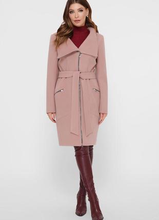 Пудровое пальто на молнии