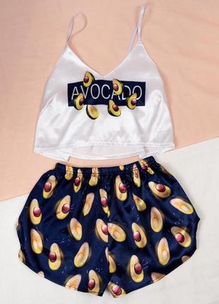 Sale💟шелковая пижама топ шорты принт авокадо  avocado