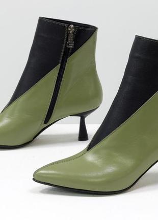 Эксклюзивные кожаные ботинки на шпильке рюмочке