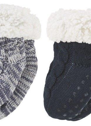 Детские тёплые вязаные носки сапожки на меху, тапочки abs с тормозами lupilu германия