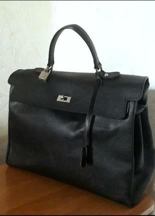 Стильная деловая сумка, натуральная кожа, genuine leather, италия