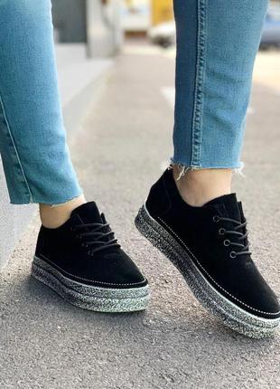 Стильные туфли натуральная замша