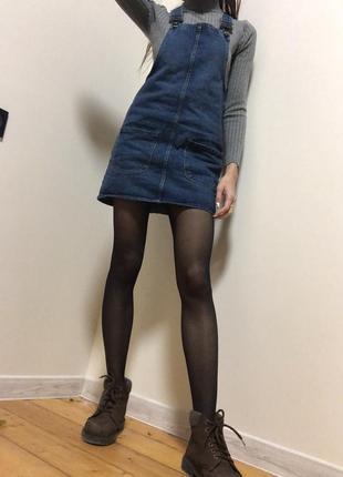 Классный джинсовый сарафан denim короткий повседневный с карманами