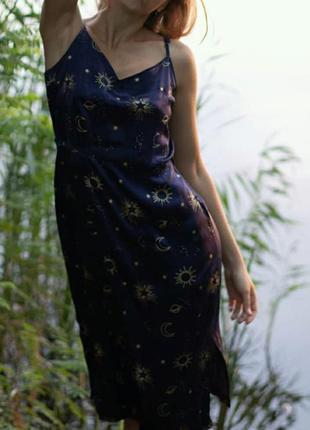 Вечернее платье комбинация в бельевом стиле принт звезды созвездия космос винтаж orsay