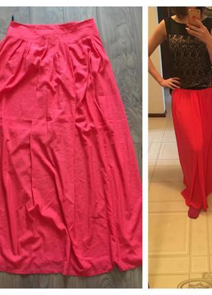 Яркая алая юбка в пол vangeliza, р. 40, длина 107, цена 180 грн.
