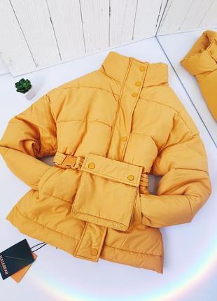 Куртка паффер осень синтепон желтая с поясом