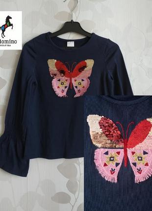 Блузка футболка с длинным рукавом био хлопок для девочки 6-8 лет