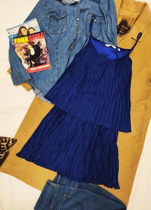 Платье синее плиссе плиссерованное свободное new look