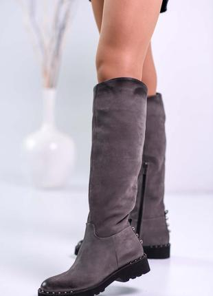 Стильные сапоги из натуральной кожи с носком и пяткой с эффектом под старения