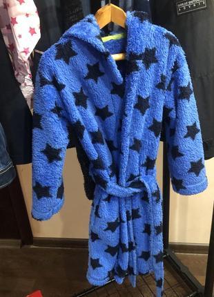 Халат синий с звёздами с капюшоном 116 122 размер