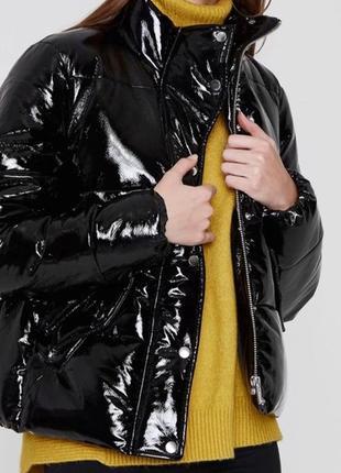Виниловый пуховик куртка зимняя тёплая oversize оверсайз l xl 14р зима