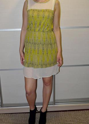 Летнее яркое тропическое платье h&m, р. м тропический принт