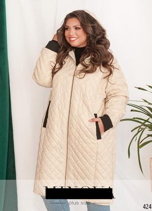 Стеганная длинная куртка больших размеров 50-62