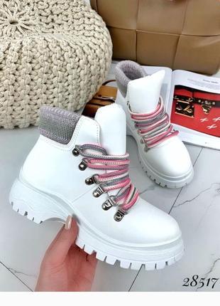 Ботинки с вязанной вставкой, демисезон на шнурках, сапоги, саоподки на платформе