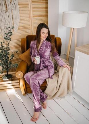 Велюровый плюшевый костюм домашний костюм