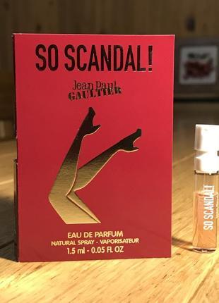 Пробник jean paul gaultier so scandal, edp, 1,5 ml, оригинал, новинка 2020