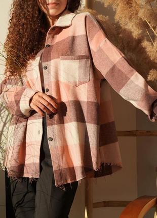 Мягкая фланелевая рубашка розовая