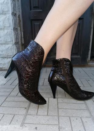 Лаковые ботинки, ботильоны, кожа, 43 размер