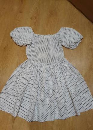 Платье миди летнее коттон хлопок белое в горох рукава буфы квадратный вырез