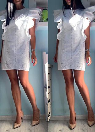 Белоснежное платье с прошвой zara
